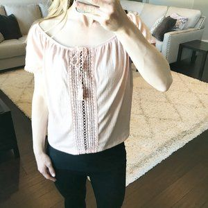 H&M Cropped Short Sleeve Peasant Top